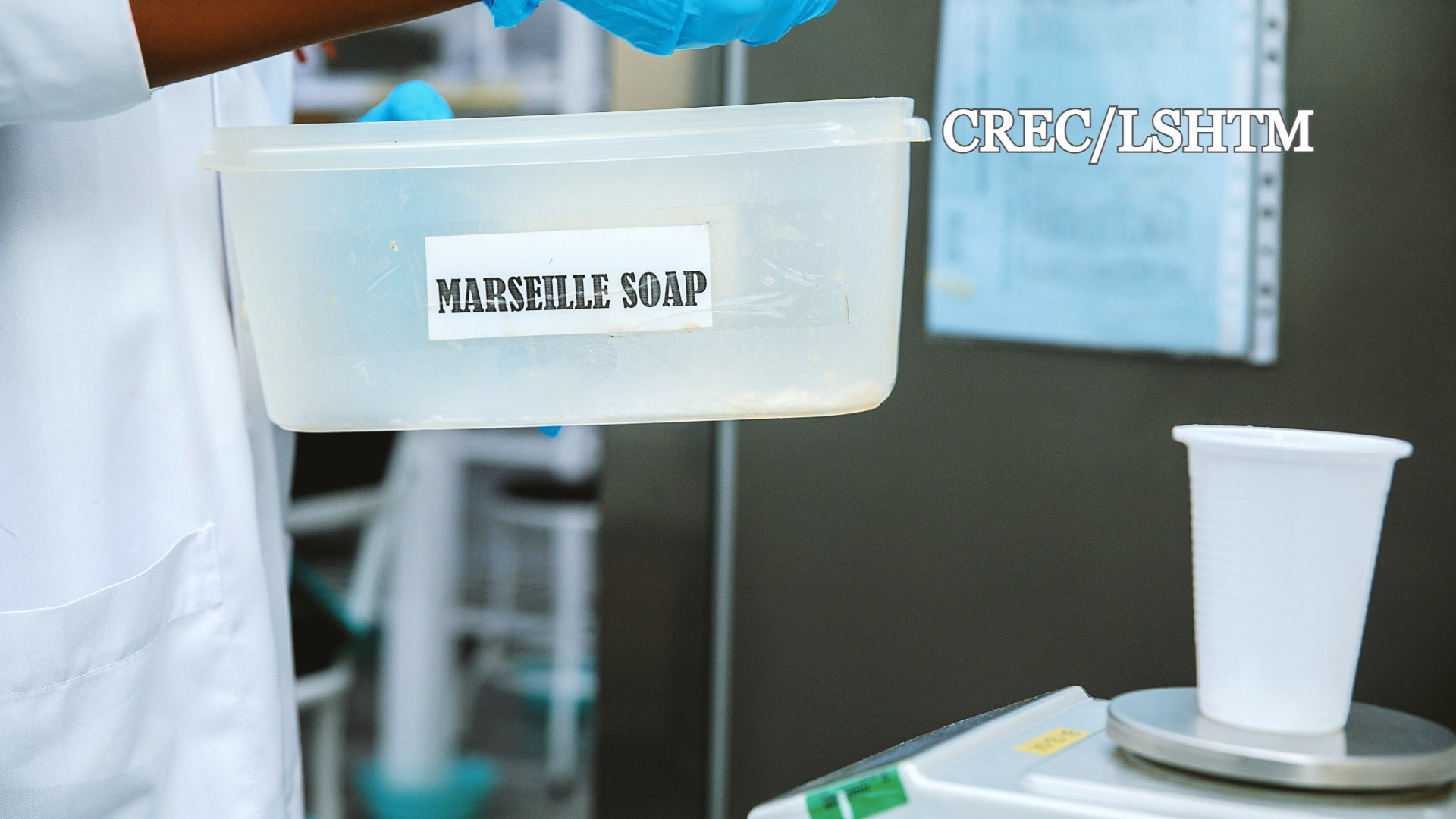 Weighing_of_marseille_soap_for_net_sample_washing